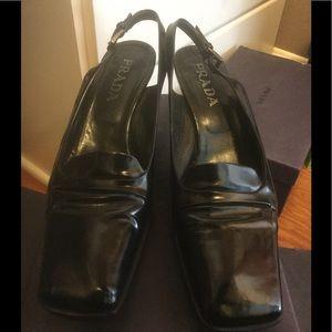 Prada black spazzolato leather slingback size 9